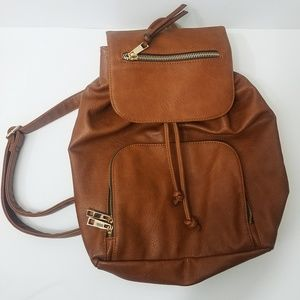 Aldo Tan Faux Leather Drawstring Backpack